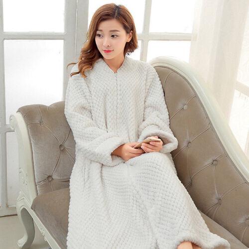 Ladies Women/'s Fleece Bath Robe Dressing Gown Soft Long Cover Fleece Home Coats