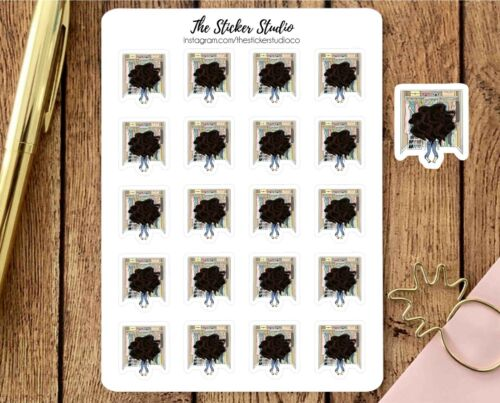- Clean Wardrobe dark hair girl Organise Closet Planner Stickers Clothes