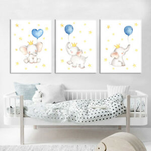 Details About Watercolor Elephant Canvas Poster Nursery Wall Art Print Baby Bedroom Decoration