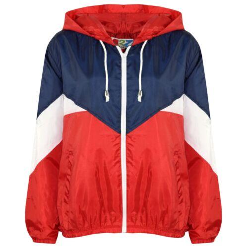 Kids Girls Red Windbreaker Contrast Color Block Hooded Jacket Rainmac Coats 5-13