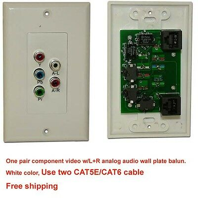Component Video Stereo RCA Audio Balun Extender Wall Plate over single Cat 5e//6
