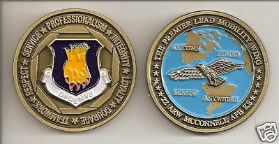 Unique US Air Force 22d Air Refueling Wing Mcconnell AFB Challenge Coin