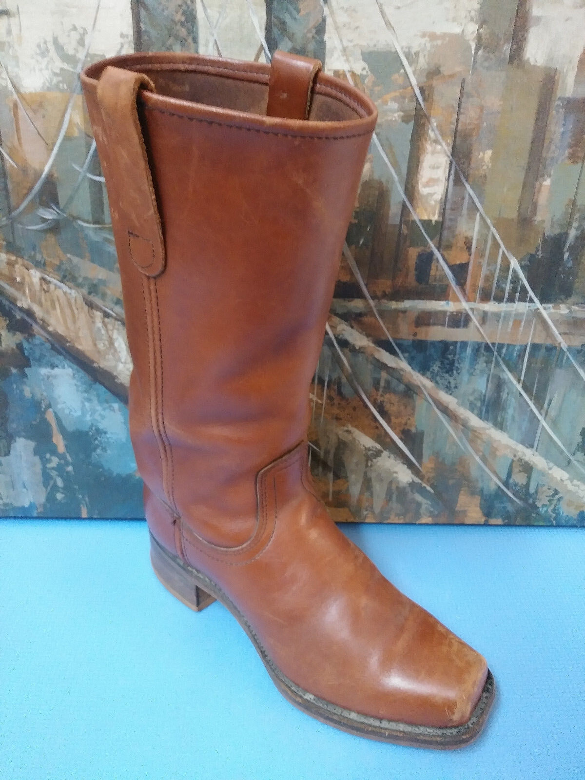 Men's VTG Motorcycle Western Square Toe Boots Size 9