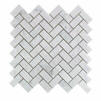 Carrara White Italian Carrera Marble Herringbone Mosaic Tile 1 X 2 Polished