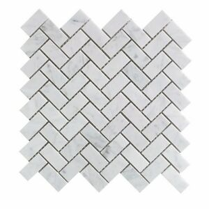 Image Is Loading Carrara White Italian Carrera Marble Herringbone Mosaic Tile