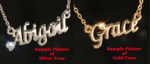 NANCY Name Necklace with Rhinestone Gold or Silver Tone