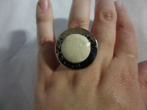 Artisan Crafted Fossilized Coral Ring, Stainless Steel-10.00 Carats (Adjustable)