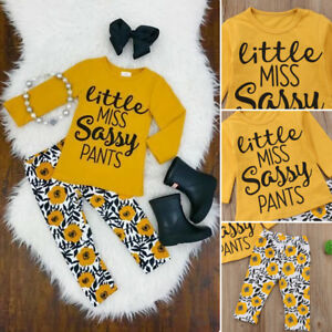 2PCS Baby Girls Outfits T-shirt Tops Pants Set Toddler Cotton Clothes Tracksuit