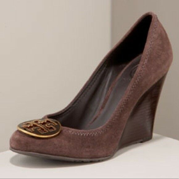 fa5893f2811c $285 Tory Burch Sophie Brown Wedge Pumps Round Logo Shoe 10 - 40. Hover to  zoom