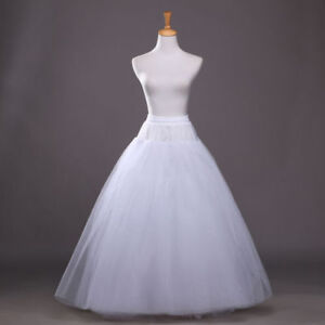 e1879dd1f5 Image is loading White-Petticoat-Bridal-Wedding-Dress-Skirt-Long-Crinoline-