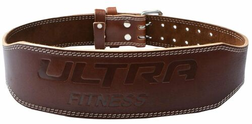 """ULTRA FITNESS® 4/"""" 100/% Real Leather Weight Lifting Belt Double Prong Back Gym"""