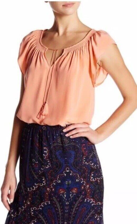 Joie Cotati V-Neck Tassel Silk Top - Rosa Orange - XS - EUC