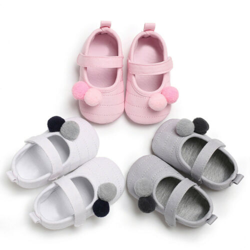 Newborn Baby Girls Shoes Crib Prewalke Pram Soft Sole Pom Pom Anti-slip Shoes