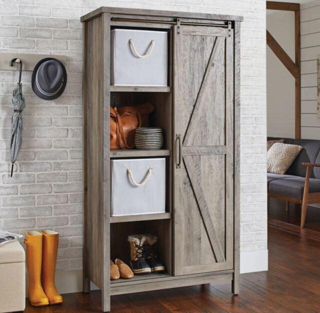 Small Kitchen Cabinet Bookcase Rustic Farmhouse Barn Door ...
