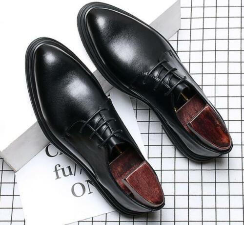 Mens British Pointed Toe Low Top Leather Shoes Wedding Lace Up Oxfords Shoes New