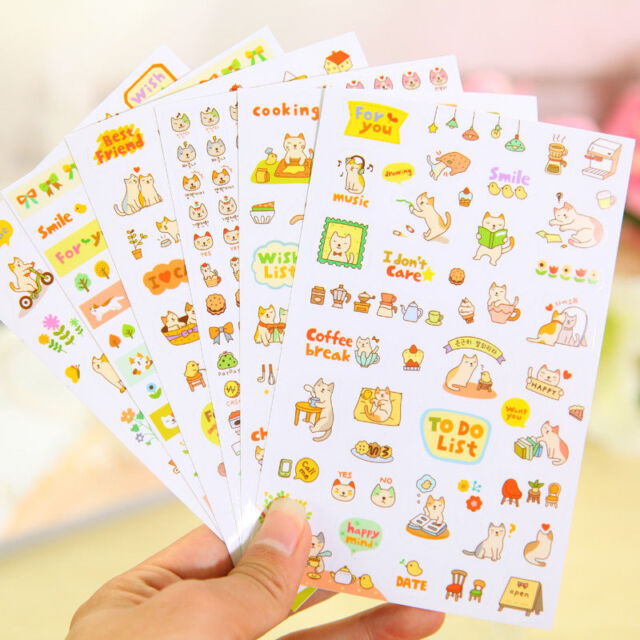 6 Sheet Cartoon Cat Diy Calendar Diary Book Sticker Scrapbook Decor