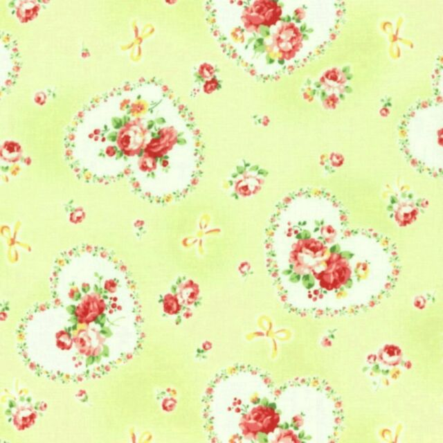 Cottage Shabby Chic Lecien Princess Rose Hearts Cotton Fabric 31266L-60 Lime BTY