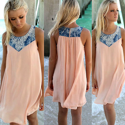 Sexy Womens Summer Beach Sleeveless Chiffon Long Top Mini Dress Plus Size 6-22
