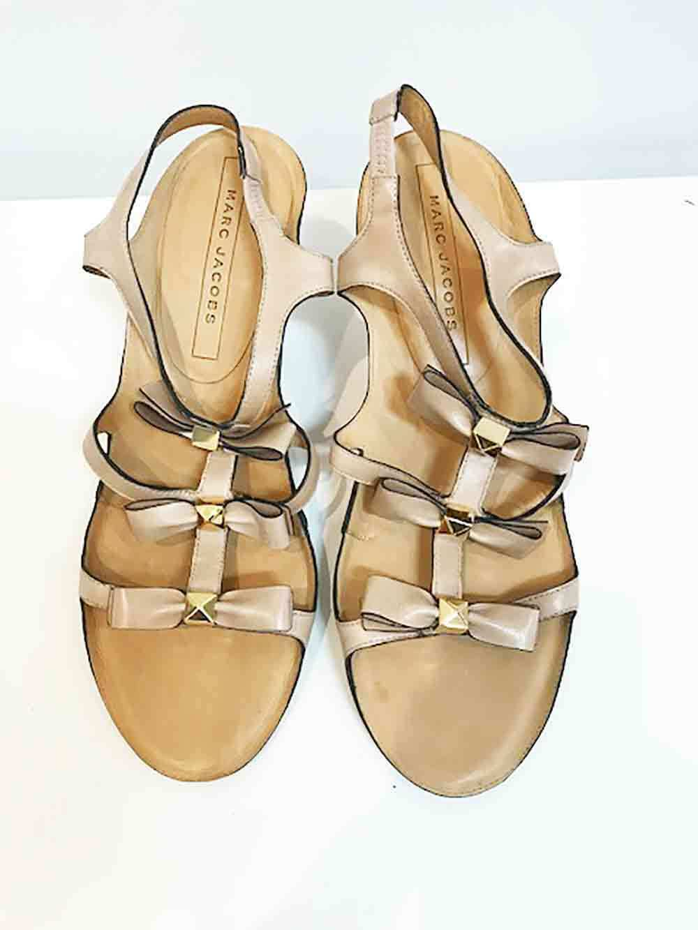 Designer BNWT Marc Jacobs Size 39 Tan Leather Bow Detail Women's Heels