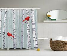 Forest Birch Trees Graphic Shower Curtain Red Cardinal Birds Bath Decor