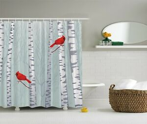 Great Image Is Loading Forest Birch Trees Graphic Shower Curtain Red Cardinal