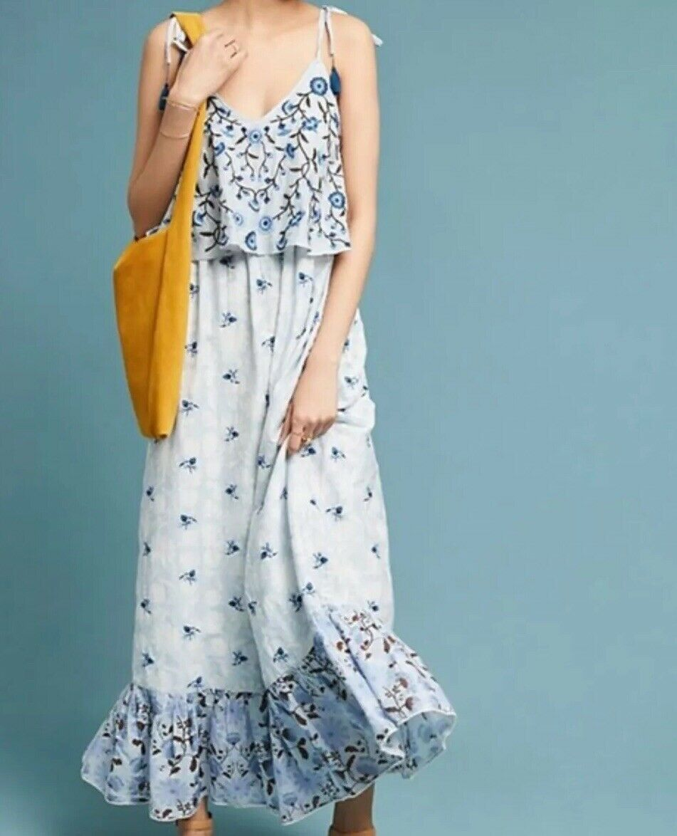 Anthropologie Let Me Be Annike Dress bluee Floral Midi Small