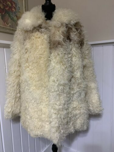 Stunning 1960/'s Brown Curly Lamb Coat with Fur Trim