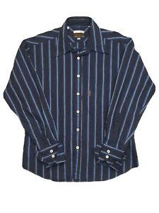 Ben-Sherman-Italian-Cloth-Men-039-s-Cuff-Long-Sleeve-Strip-Blue-Shirt-Size-M