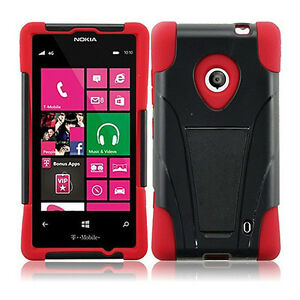 Details about Nokia Lumia 521 Advanced HYBRID KICK STAND Rubber Case Phone  Cover Black Red