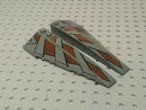 LEGO-Slope-Curved-Wedge-10x3-l-amp-r-Autocollant-7957-50955-6pb010-Gris-Fonce-x1-Paire