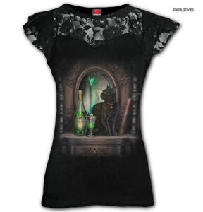 Spiral-Direct-Ladies-Black-Goth-Witch-ABSINTHE-Black-Cat-Top-Lace-All-Sizes