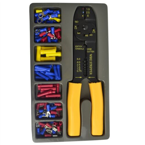 Crimper Plier Wire Cutter Stripper and Electrical Terminal Connector 101pc TE75