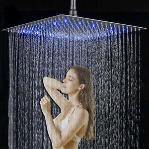 12 Pollici Doccia A Pioggia Led Acciaio Inox Soffione Doccia Ultra Sottile 30cm Ebay