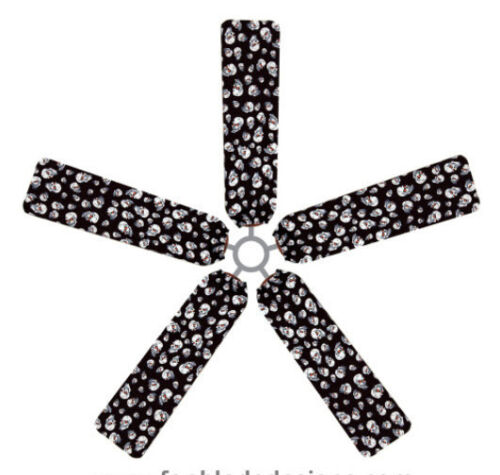 Ceiling Fan Blade FABRIC Cover SKULLS Halloween bone teen decor 5 decorative pcs