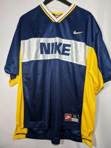 Vtg Team Nike Mesh Shirt Spellout Sz Mens XL Blue
