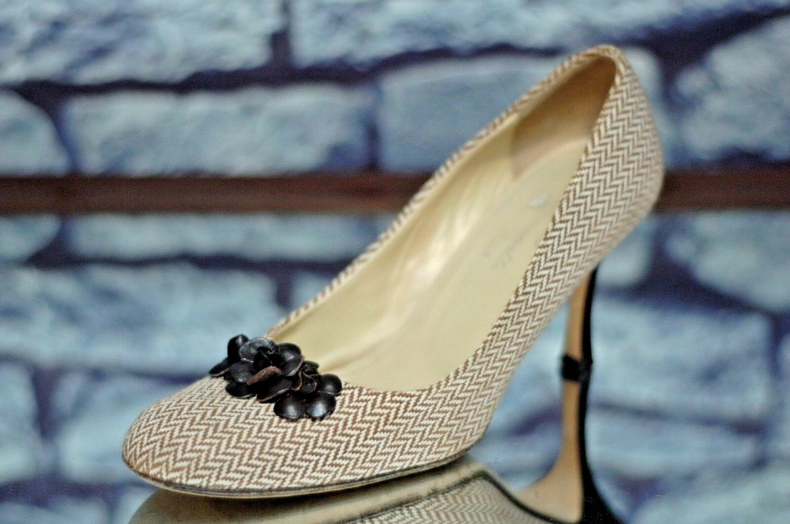 Façonnable Femmes Beige & Brun Tweed de Luxe Chaussures à Talons 8M 8 M