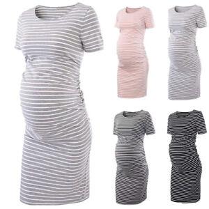 Women Solid Maternity Bodycon Midi Dress Short Sleeve Casual Pregnant Dresses Ebay