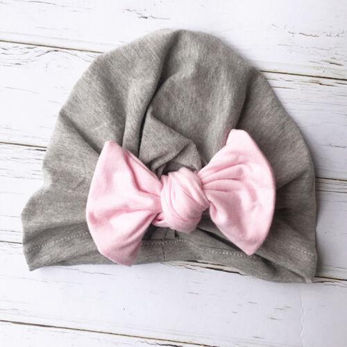 Girls Baby Toddler Turban Solid Headband Hair Band Bow Hat Accessories Headwear