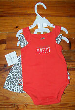 New! Girls CARTER'S 3pc Orange Brown Animal Print Dress Outfit Outfit 0-3 Months