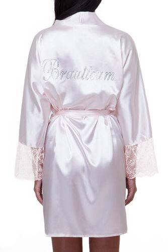Braut Morgenmantel Satin Kimono Hochzeit Brautteam Brautjungfern weiß rosa