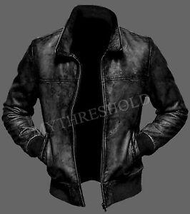 New Mens Biker Motorcycle Vintage Distressed BLACK Bomber Winter Leather Jacket