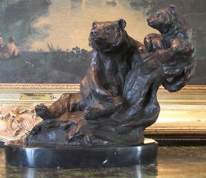 Mother-Bear-Cub-Bronze-Bronze-Marble-Statue-Sculpture-Cabin-Lodge-Chalet-Art