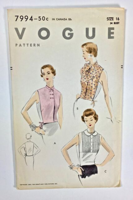Vintage 50s VOGUE Sewing Pattern 7994 DICKEY Dickies Bow Collar Pin Tucks Jabot