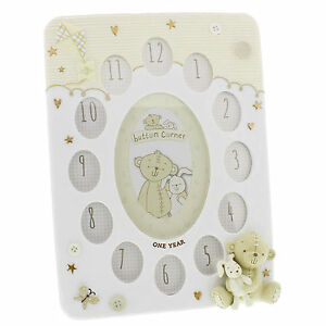 Multi-Photo-Frame-Baby-039-s-My-First-Year-Button-Corner-Engraved-Boxed-FOC-CG1209