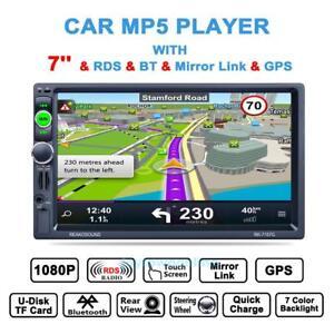 Autoradio-Mit-europaischen-Landkarte-GPS-Navigation-7-039-039-2-Din-Ruckfahrkamera