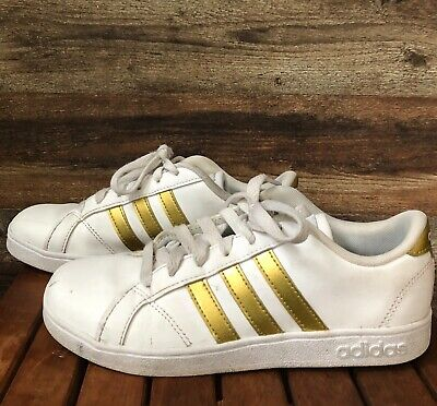 Kids Adidas White Sneaker with Gold