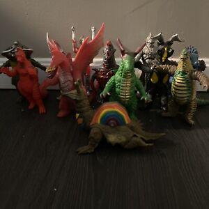 ultraman Bandai toy lot Of 13. Used Kaiju Toys Japan . Godzilla Gamera 1985-1998