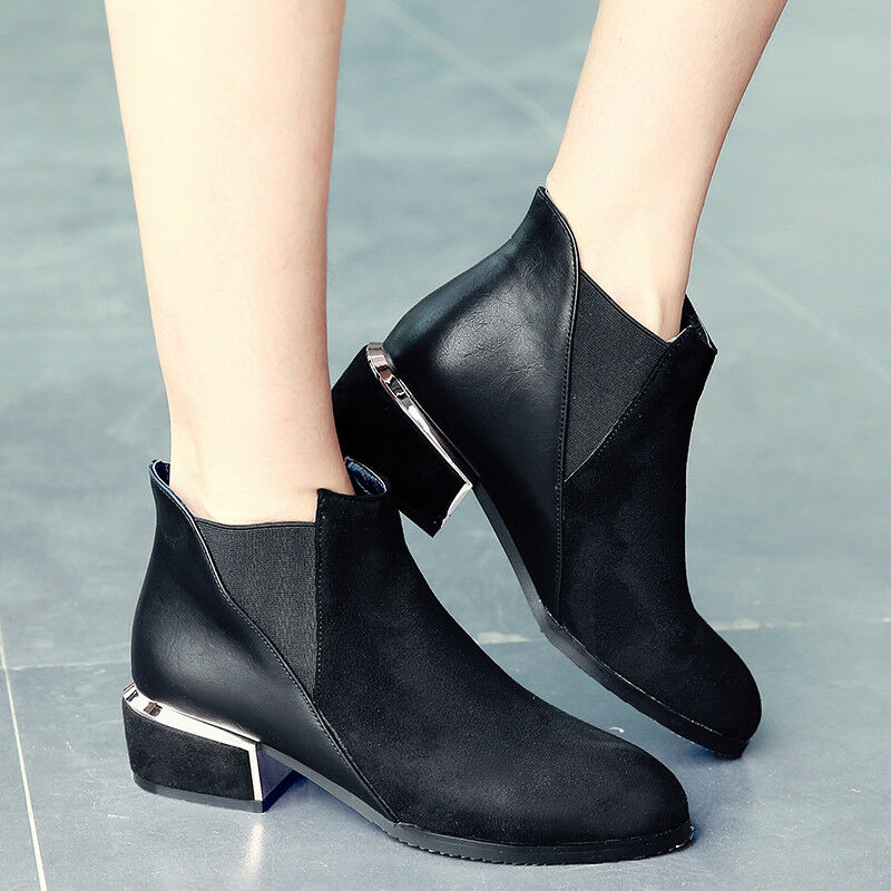 Women Ankle Martin Boots Suede Low Heel Slip On Plus Size Winter Causal shoes