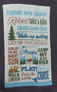 Alaska-Theme-Decorative-Dish-Towel-Has-phrases-with-moose-bear-and-whale-scenes