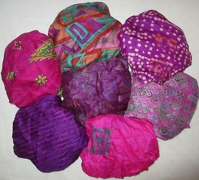 CA LOT PURE SILK Vintage Sari REMNANT Fabric 7 Pcs 1 ft Pink Violet #ABD35